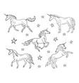 hand drawn doodle sketch set unicorn vector image vector image