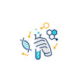 hand hold laboratory glassware logo icon line vector image vector image