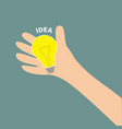 hand holding idea light bulb lamp yellow color vector image vector image