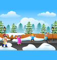 happy kid plaiyng in the snowing village vector image vector image