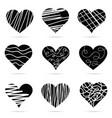 heart black icon set vector image vector image