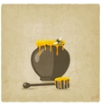 honey pot with bee and wooden dipper on old vector image