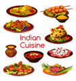 indian cuisine vegetarian and meat dishes vector image vector image