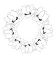 indian lotus outline wreath vector image vector image