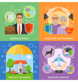 Insurance Services 4 Flat Icons Square vector image vector image
