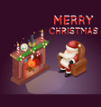 isometric 3d santa claus read gift list sit vector image vector image