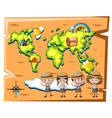 kids in safari outfit and worldmap in background vector image