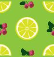 lemon and raspberry seamless pattern vector image vector image
