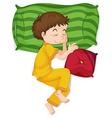 Little boy in yellow pj sleeping vector image vector image
