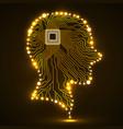 neon human head cpu circuit board vector image vector image