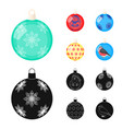 new year toys cartoonblack icons in set vector image