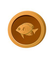 orange coin with image a fish vector image