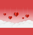 paper cut balloon red heart and clouds on red vector image vector image