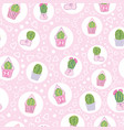 pink cacti tea party seamless pattern vector image vector image