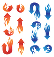 Red and Blue Fire Arrow Collections vector image vector image