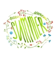 Rustic Wreath with Summer Sign Card on White vector image vector image