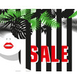 sale banner fashion girl tropical leaves bold vector image vector image