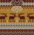 Scandinavian flat style knitted pattern with deers vector image vector image