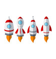 set of rocket ship isolated on white background vector image
