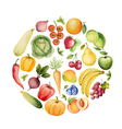 Set of watercolor vegetables and fruits vector image vector image