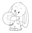 sketch a toy hare holding a balloon coloring vector image vector image