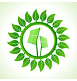 Solar panel inside the leaf background vector image vector image