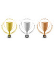 sport trophies for the first place second place vector image