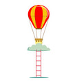 striped air balloon with ladder vector image