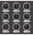 time zones black and silver clock set eps10 vector image vector image