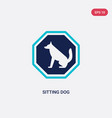 two color sitting dog icon from airport terminal vector image
