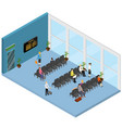 waiting hall interior isometric view vector image vector image