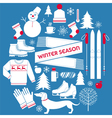 Winter Season Icons Set in Retro Style vector image vector image