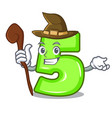 witch number five isolated on the mascot vector image vector image