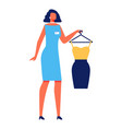 woman stylist with dress on white background vector image vector image
