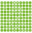 100 wine icons hexagon green vector image vector image