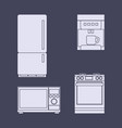 a set of icons of household kitchen appliances vector image