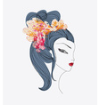 Abstract Beautiful geisha doodle Portrait vector image vector image