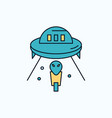 alien space ufo spaceship mars flat icon green vector image