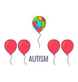 autism awareness balloon poster vector image vector image