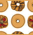 bakery biscuits and twisted buns seamless pattern vector image