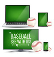 baseball application field baseball ball vector image vector image