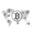 bitcoin on world map points of reception vector image