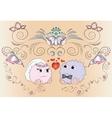 bride and groom wedding card ornaments vector image