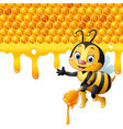 cartoon bees holding the handle with honey vector image vector image