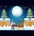 cartoon funny santa claus pulling reindeer on a sl vector image vector image