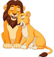 cartoon lion couple vector image vector image