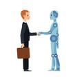 cartoon robot and business man handshake vector image