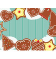 christmas background with gingerbread cookies on vector image vector image