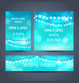christmas garlands on blue cards set vector image vector image