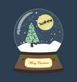 christmas snow globe with tree and deers vector image vector image